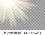 glow light effect. sun sparkle. ... | Shutterstock .eps vector #1374691241