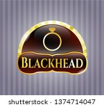 gold emblem with diamond ring...   Shutterstock .eps vector #1374714047