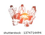 team building exercise ...   Shutterstock .eps vector #1374714494