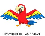 macaw bird cartoon | Shutterstock .eps vector #137472605
