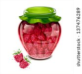 jar of raspberry jam. vector... | Shutterstock .eps vector #137476289