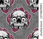 pattern skull ornament with... | Shutterstock .eps vector #1374839891
