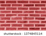 bright red brick wall background | Shutterstock . vector #1374845114