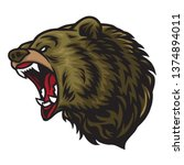 angry bear roaring  logo mascot ... | Shutterstock .eps vector #1374894011