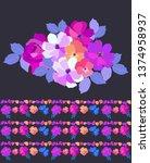 bouquet of garden flowers and...   Shutterstock .eps vector #1374958937