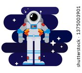 flat astronaut in space among... | Shutterstock . vector #1375003901