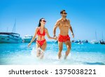 young couple having fun on a... | Shutterstock . vector #1375038221