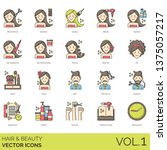 hair and beauty icons including ... | Shutterstock .eps vector #1375057217