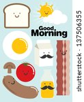 art,bacon,bread,breakfast,cheerful,cloud,egg,face,food,good morning,happiness,happy,meal,milk,morning