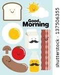 breakfast template vector... | Shutterstock .eps vector #137506355