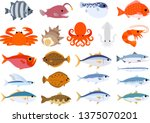 Vector clip-art of fishes & seafood set: octopus salmon shellfish blowfish crab bream yellowtail tuna mackerel carp shrimp seadevil ocean sushi ingredients