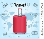doodle luggage and accessories... | Shutterstock .eps vector #1375077974