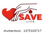 save life isolated icon heart... | Shutterstock .eps vector #1375103717