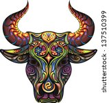 bull. silhouette of a head of a ...   Shutterstock .eps vector #137510399