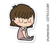 sticker of a cartoon woman | Shutterstock . vector #1375111184