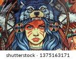 native american illustration.... | Shutterstock . vector #1375163171