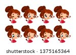 set emotions. facial expression.... | Shutterstock .eps vector #1375165364
