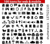 set of 100 universal icons for... | Shutterstock .eps vector #137522135
