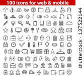 set of 100 universal icons for... | Shutterstock .eps vector #137522144