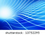 curved white lines design on blue background - stock photo