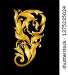 gold vintage baroque frame... | Shutterstock .eps vector #1375235024