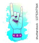 rock and roll sign. hand drawn... | Shutterstock .eps vector #1375247564