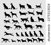 black silhouettes of dog and... | Shutterstock .eps vector #1375313024