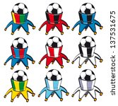 Vector illustration of football fan hats, easy to turn in any club or national team colors.