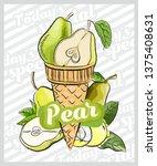 pear ice cream scoop in cones.... | Shutterstock .eps vector #1375408631