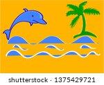 sea waves  palm tree silhouette ... | Shutterstock .eps vector #1375429721