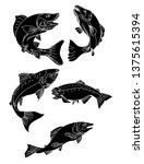 japanese salmon vector and... | Shutterstock .eps vector #1375615394