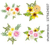 flowers set. collection of... | Shutterstock .eps vector #1375624037