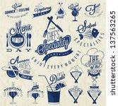 retro vintage style restaurant...   Shutterstock .eps vector #137563265
