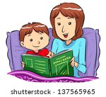 bed time story mother reading... | Shutterstock .eps vector #137565965
