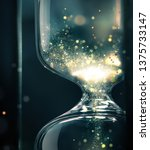 hourglass close up with shining ... | Shutterstock . vector #1375733147