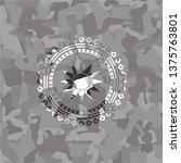 sun icon on grey camo texture   Shutterstock .eps vector #1375763801