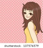 fashion girl in cartoon style   ... | Shutterstock .eps vector #137576579