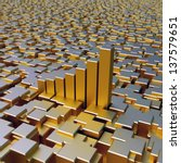 gold cubes and chart bars... | Shutterstock . vector #137579651
