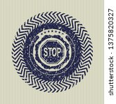 blue stop icon inside distress...   Shutterstock .eps vector #1375820327