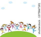 kids jumping on the hill | Shutterstock . vector #1375867181