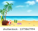 summer time  sea beach and... | Shutterstock .eps vector #1375867994