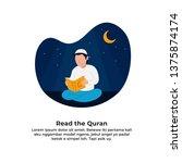 muslim man reading holy quran... | Shutterstock .eps vector #1375874174