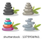 vector zen rock stones stack in ... | Shutterstock .eps vector #1375936961