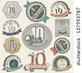 vintage style 10 anniversary... | Shutterstock .eps vector #137593787