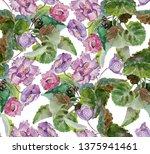 seamless pattern of violet...   Shutterstock . vector #1375941461