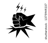 fist on table vector icon.... | Shutterstock .eps vector #1375949237