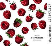 vector frame with raspberries.... | Shutterstock .eps vector #1375971827