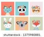 cute animals heads with flower... | Shutterstock .eps vector #1375980881