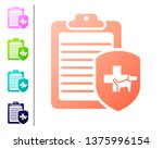 coral clipboard with medical... | Shutterstock .eps vector #1375996154