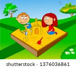 little boy and girl play in... | Shutterstock .eps vector #1376036861